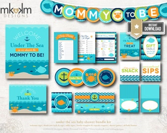 Under The Sea Party Kit, INSTANT DOWNLOAD, Nautical Baby Shower, Mommy To Be Banner, Aqua Baby Shower Signs, Beach Baby Shower Decor, #N2