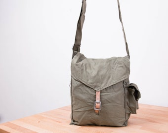 Soviet Army Bag, Old Gas Mask Bag, Military Messenger Bag, Crossbody Bag, Mans Bag, Emerald Green, Gift for Dad, gb004