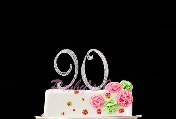 Items similar to Number 90 Rhinestone Cake Topper 90th Birthday