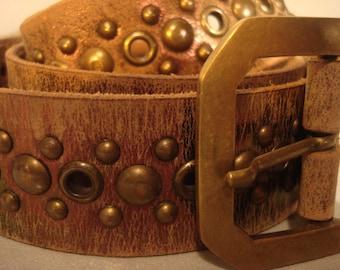 Boho 1990s Vintage Distressed Gold Washed Studded Belt
