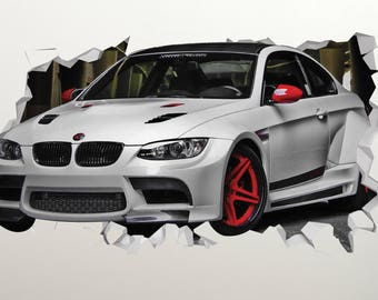 Car Bmw White Wall Decal - Car Bmw Sport Smashed Sticker - Car 3D Smashed Art - LS56