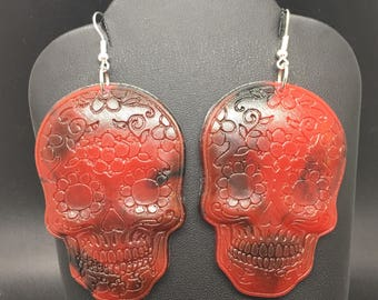 Sugar skull earrings red and black