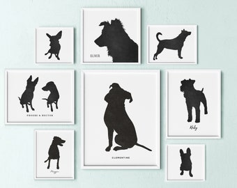 custom dog silhouette portrait, dog lovers gift, dog mom gift, personalized dog art, pet keepsake, gift for dog lover, pet memorial gift