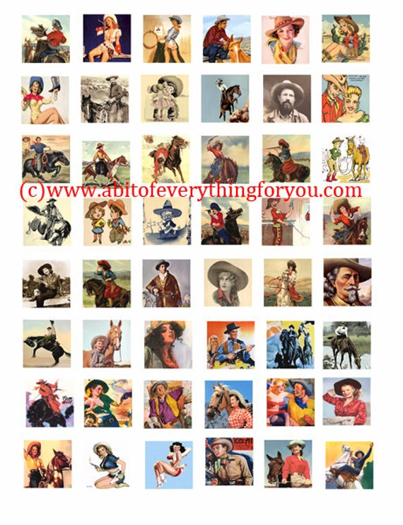 vintage cowboys cowgirls art collage sheet 1 inch squares clip art digital download graphics images art old photos pinup girls printables
