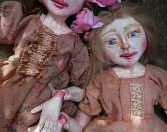 OOAK Art Doll, Jointed and Sculpted Paperclay Doll, Blush