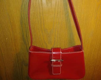 Vintage Nine West Accessories Red Patent Leather Hand Bag Purse Christmas Holiday Parties