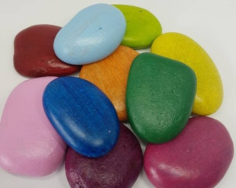 Rainbow Stones/ Story Stones/ Learning/ Colours/ School/ Play/ Montessori/ Waldorf/ Stones