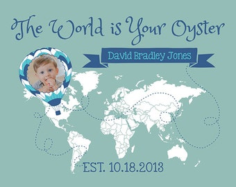 Baby Gift, Travel Theme, The World is Your Oyster - Custom Kids Map, Baby Photo, Room Decor, Nursery, Travel Nursery, Hot Air Balloon, Boy