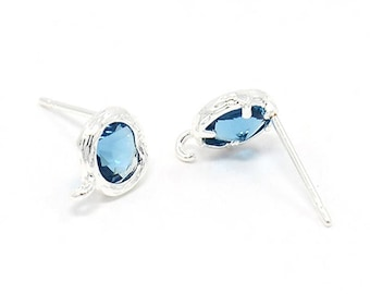 1 pair supports glass 8mm Lt. SAPPHIRE rhinestone earrings