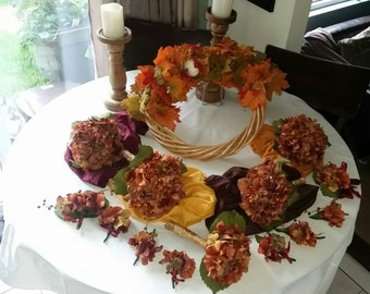 Hydreangea, Falling In LOVE With Fall....Silk Hydrangeas Bridal Party Bouquet Set perfect for Fall. Rustic Wedding Flower Bouquets for sale
