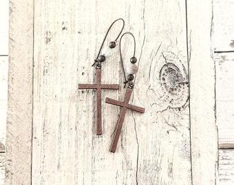 Cross Earrings, Big Cross Earrings, Long Dangle Earrings, Boho Simple Earrings, Christian Earrings, E155