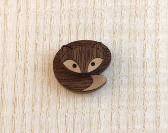 Marquetry Fox Brooch Pin and Pendant Inlay Wood Veneer by Linnell Design