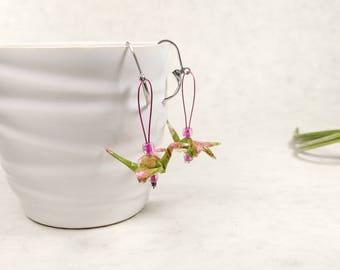 Boucles d'oreilles roses et vertes | Grue japonaise | bijou chinois | Origami par Ökibo