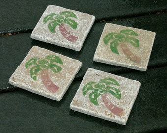Set of 4 Marble Drink Coasters...Palm Trees