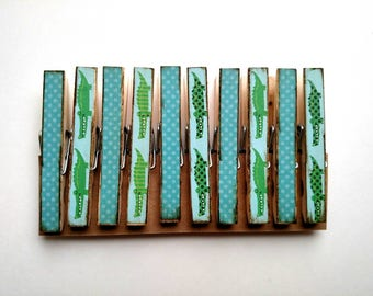 Later Alligator Clothespins set of 10 Decoupage Clothespins