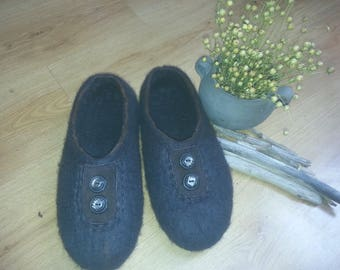 Handmade felted wool slippers
