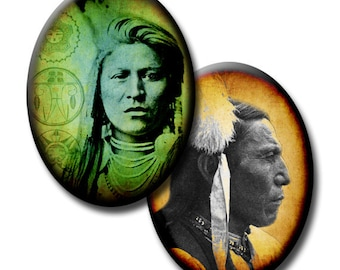 Native American Indians - 40mm x 30mm Ovals - (2) Digital collage sheets