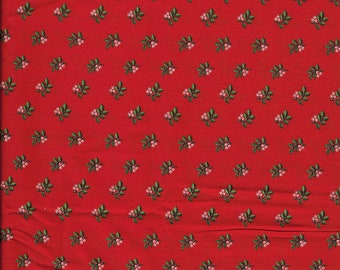 New Christmas Holly Leaves and Berries on Red 100% Cotton Fabric by the Quarter Yard