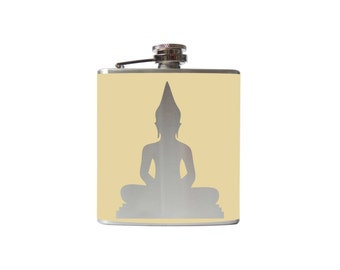 BUDDHA flask- alcohol, liquor, booze, wedding, bridal party, hip pocket- Personalized Custom - YOU pick COLOR asian yoga peace