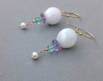 Snow White Earrings with Purple Amethyst, Apatite, Swarovski Pearl and Gold Fill