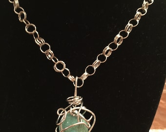 Twisted Silver Pendant with Turquoise Stone