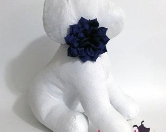 3 inch Navy Blue Lotus Flower Collar Accessory