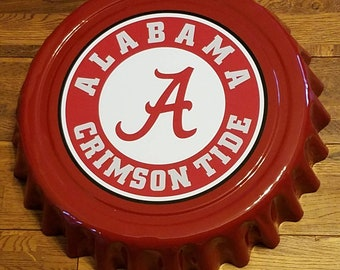 "Alabama Crimson Bama Roll Tide 16"" Metal Bottle Cap Wall Hanging Football Fraternity Tailgaiting Homecoming request a team"