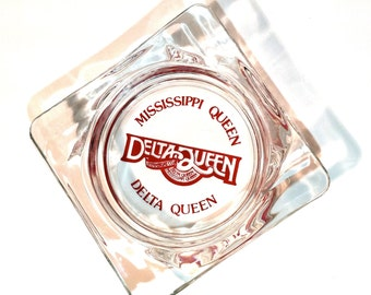 Delta Queen Mississippi Queen Red Letters Clear Glass Ashtray Vintage 4 1/4 x4 1/4 inches 1970-80s Steamboat Co