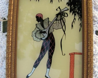 Art Deco Silhouette Man with Mandolin Serenata FREE USA Shipping and Tracking Included in Price Signed Piece of Vintage Art Reverse Painting