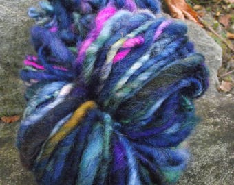 Handspun yarn, handpainted,Super Bulky Thick and Thin Art Yarn, Burly Spun Felted  wool art yarn-Galaxy