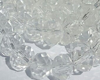 10mm Glass Beads - 30 pcs - 10mm Clear Beads - Faceted Glass Beads - 10mm x 7mm - Rondelles - Clear faceted Beads