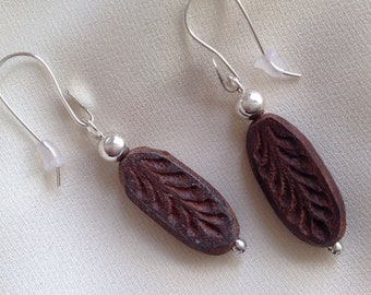 Carved ebony wood earrings