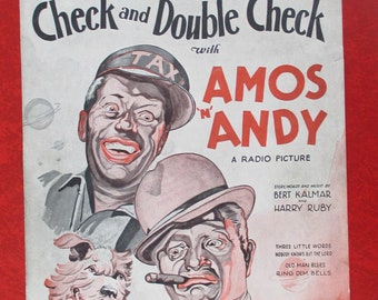 vintage black americana 1930 sheet music cover Amos and Andy