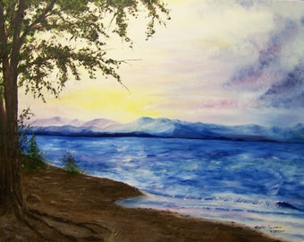 Sunset Painting, Lake Painting; Landscape Painting, Original Oil Painting on Canvas, 16in x 20in