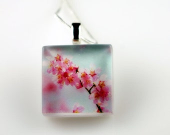 Scenery of Spring - Cherry Blossom - Recycled Glass Photo Pendant Necklace