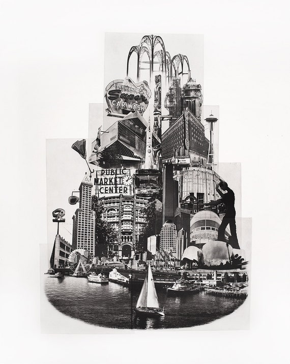 Seattle Fine Art - Original Art - Photographic Etching - Art Print - Photography - Washington - Photogravure - Tower of Seattle - Pike Place