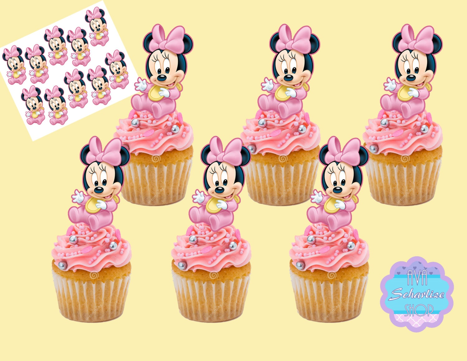 Baby Minnie Mouse Cupcake Topper Minnie Mouse Cupcake Picks