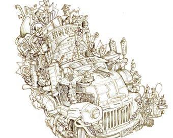 Men's Steampunk T-shirt - Car
