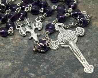 Gemstone Rosary of Amethyst, 5 Decade Rosary, Amethyst Rosary, February Rosary, Catholic Rosary, Ornate Rosary, Fancy Rosary
