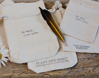Plant and Spirit Cotton Muslin Carry Bag, hand-stamped, drawstring, three sizes