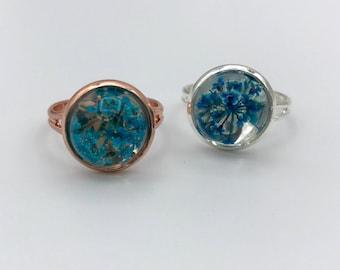 Rose gold dried flower ring, Resin flower terrarium ring