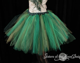 Forest Fairy tutu tulle skirt adult streamer pixie elf green run race costume halloween carnival EDC -You Choose Size - Sisters of the Moon