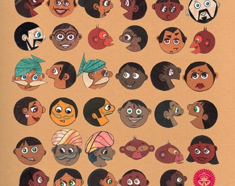 Gupshup (Gossips) - Postcards From India - 11 by 14 Illustration Paper Collage Art Print (Signed)