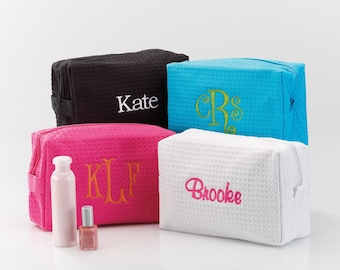Spa Bag | Personalized Gifts for Women | Waffle Weave Cosmetic Bag | FREE Personalization | (e113-1104)