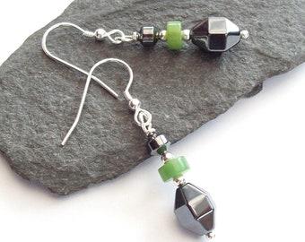 Hematite and Chrysoprase Earrings , Sterling Silver Drop Earrings, summer colour, gemstone beaded earrings