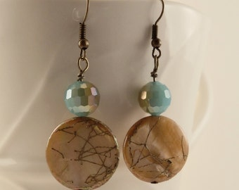 Ginger Freshwater Pearl and Gold Coins with Teal Glass Dangle Earrings