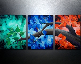 Triptych Art canvas painting abstract art contemporary landscape modern wall art 16x36 tree painting