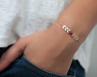 Fishbone bracelet with small stone, fishbone chain, friendship bracelet - Gold fill