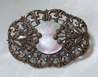 Vintage Art Deco Czech Mother of Pearl Pin/Brooch