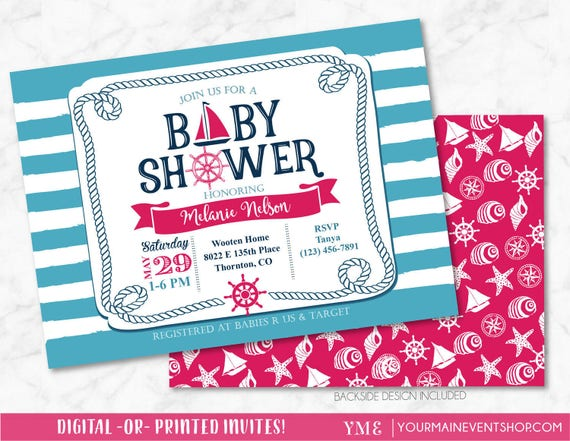 Nautical Girl Baby Shower Invitation - Pink Sail Boat Beach Boy Baby Shower - Anchor Invite # 023